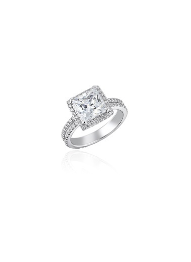 Tophills Diamond Co. 3,6Ct Pırlanta Efekt Emılıa Altın Yüzük Renkli